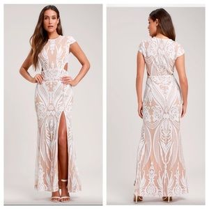 RYSE Emily White & Nude Sequin Cutout Maxi Dress